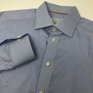 Eton Long Sleeve Button Front Striped Shirt